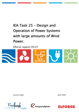 IEA Task 25 – Design and Operation of Power Systems with large