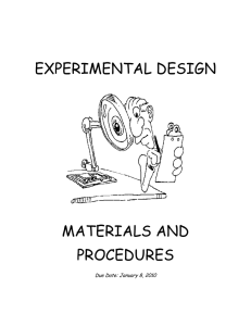 experimental design materials and procedures