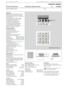 Product data sheet Recessed ceiling luminaire 12 199.1 3