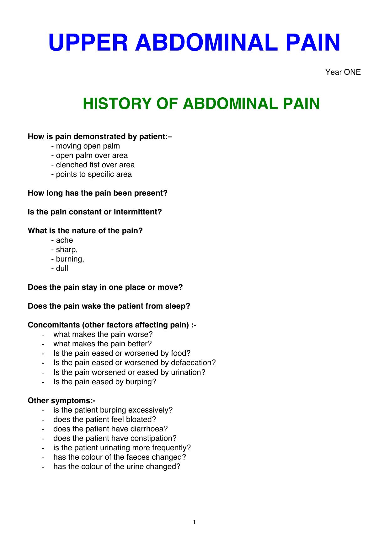 UPPER ABDO  PAIN