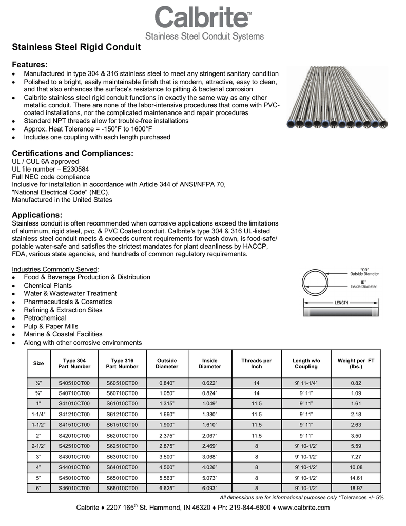 Stainless Steel Rigid Conduit Ul Listed Electrical Wiring