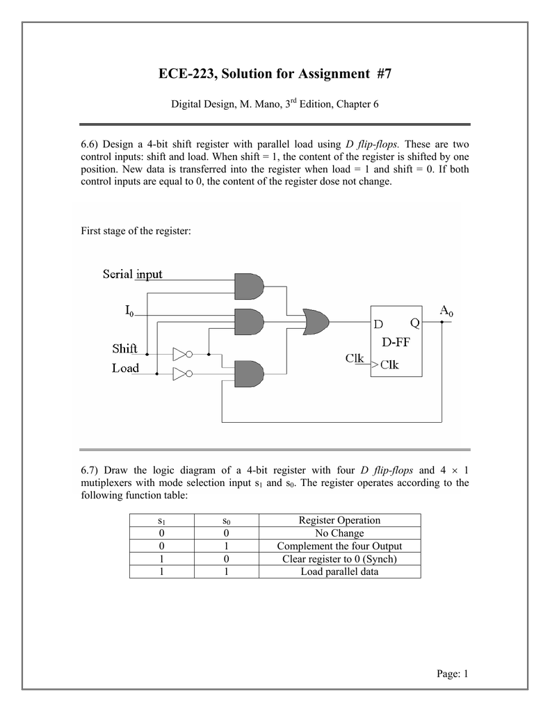 Ece 223 Assignment 1 D Flip Flop Logic Diagram