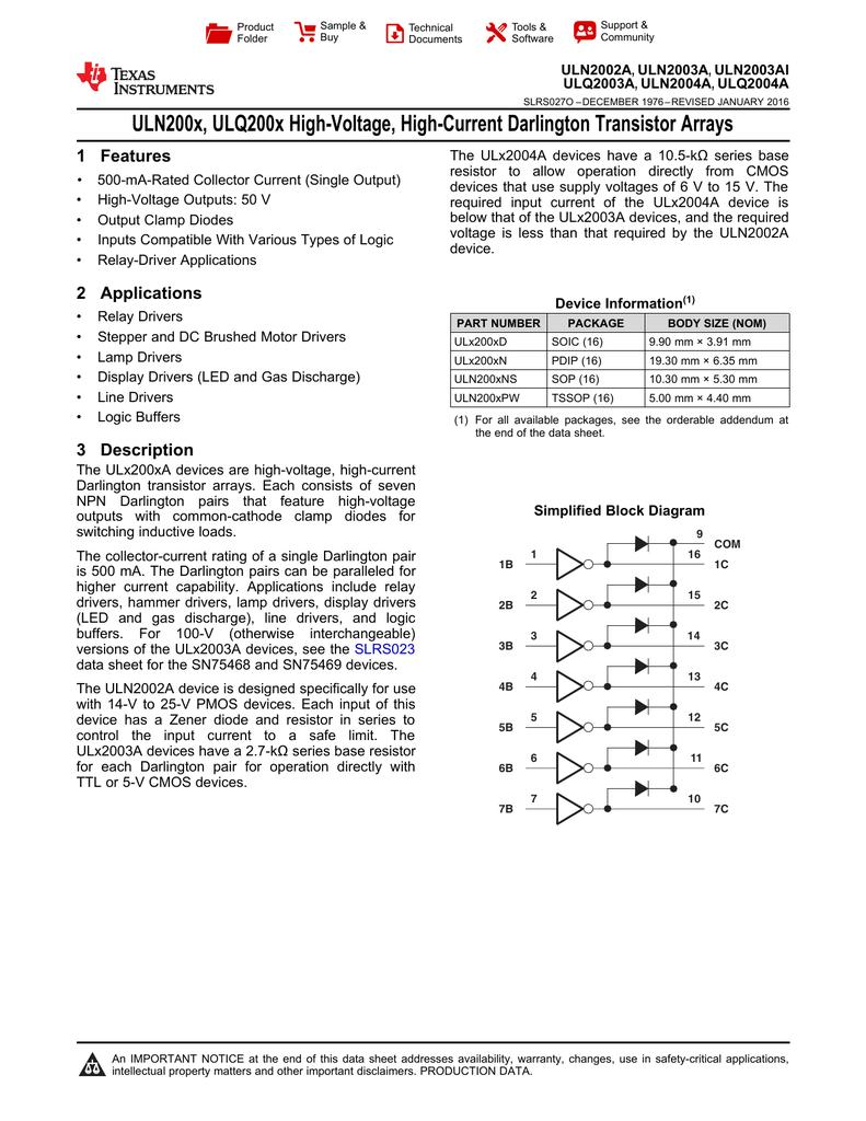 High Voltage Current Darlington Transistor Array Rev O Omap 5 Block Diagram