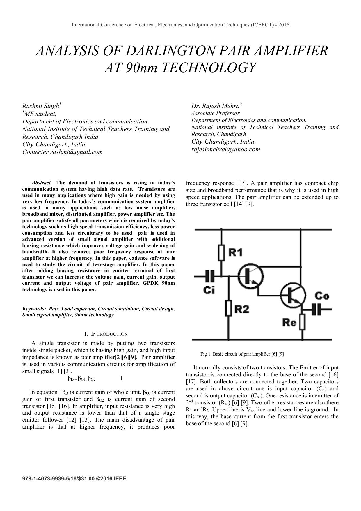 ANALYSIS OF DARLINGTON PAIR AMPLIFIER AT 90nm