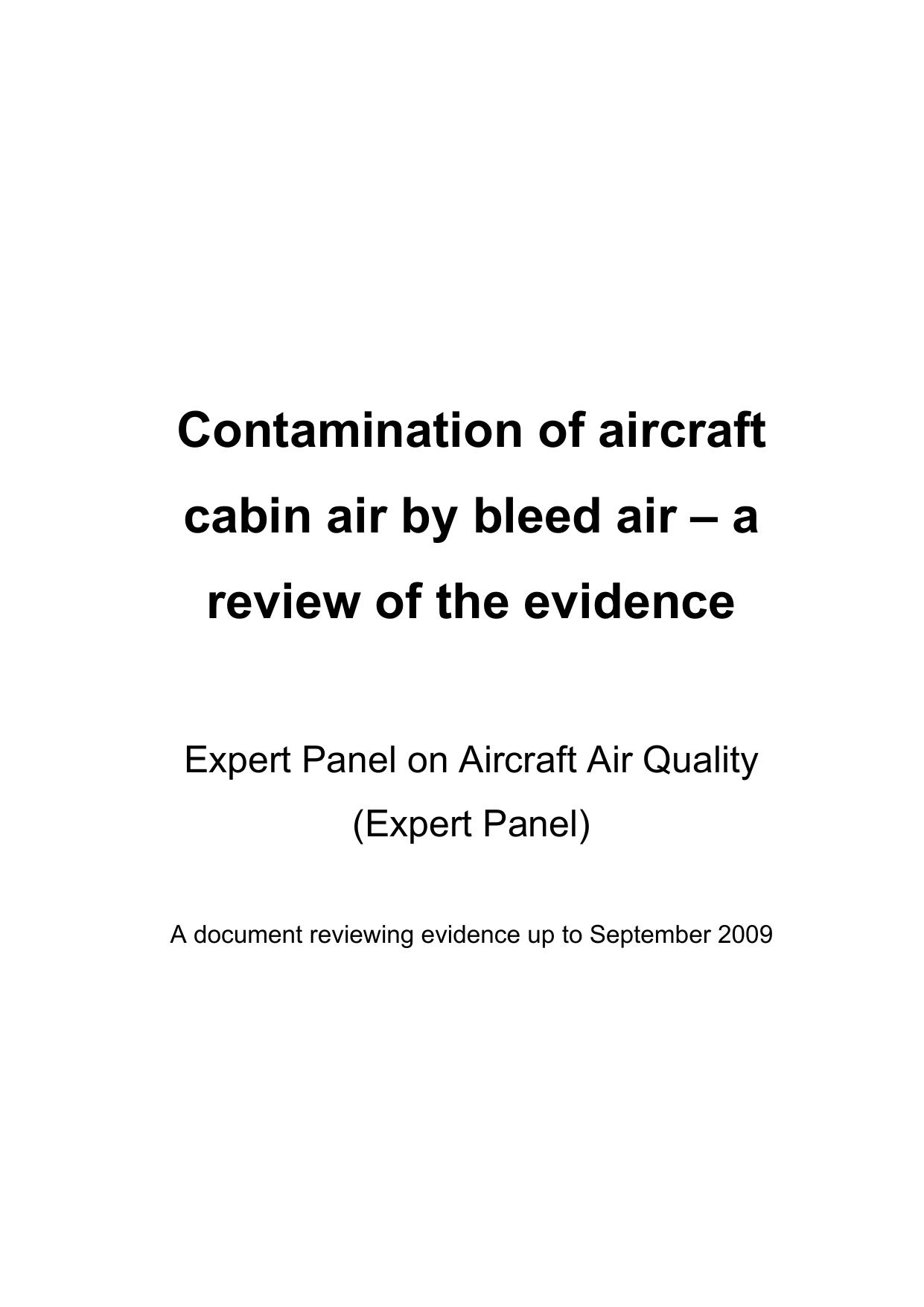 contamination of aircraft cabin air by bleed air