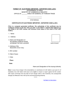 e-IEC - Directorate General of Foreign Trade