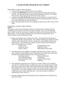 CAUSE OF DEATH QUICK FACT SHEET