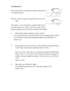 For Question 6-8 In the circuit shown on the right, the reading of the