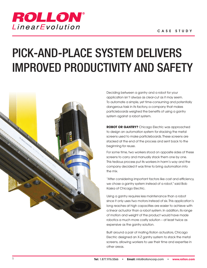 PICK-AND-PLACE SYSTEM DELIVERS IMPROVED
