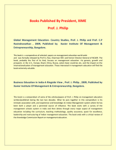 Books Published By President, XIME Prof. J. Philip
