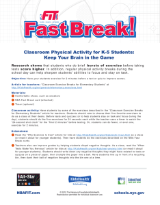 Classroom Physical Activity for K-5 Students