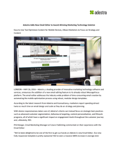 Adestra Adds New Email Editor to Award-Winning Marketing