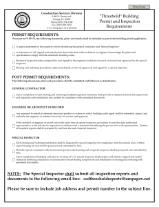 """Threshold"" Building Permit and Inspection Requirements NOTE"