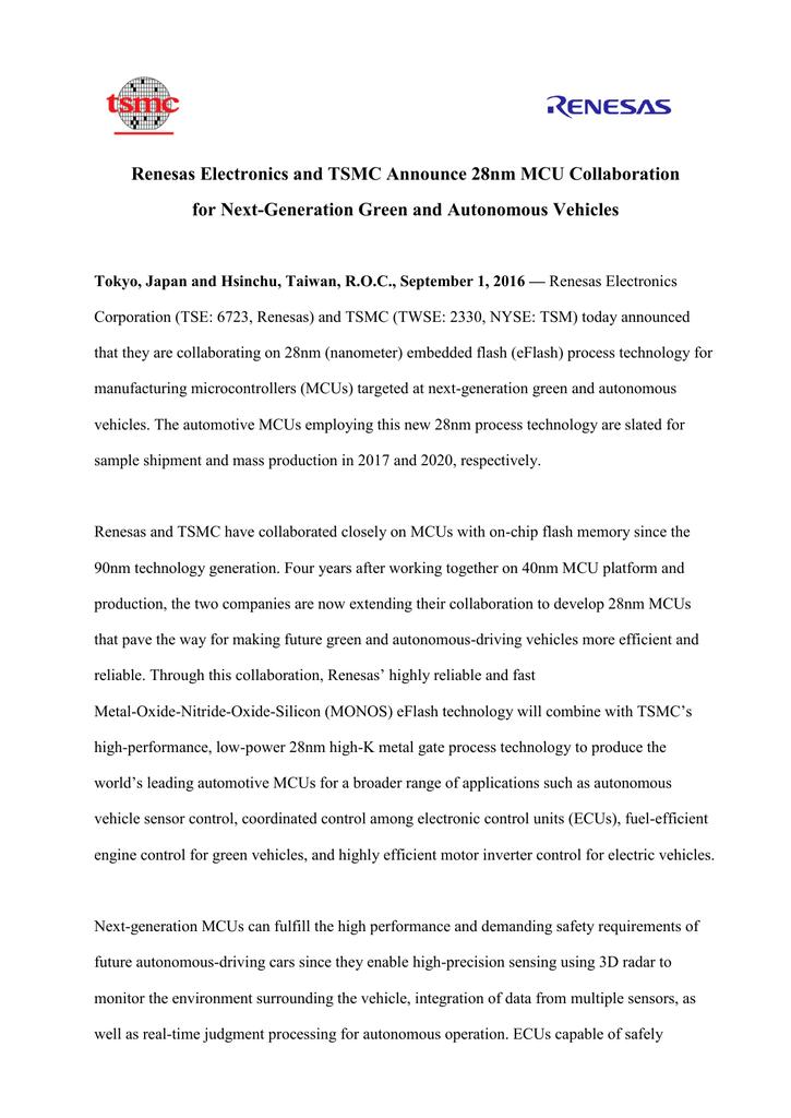 Renesas Electronics and TSMC Announce 28nm MCU