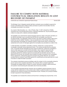 FAILURE TO COMPLY WITH MATERIAL CONTRACTUAL