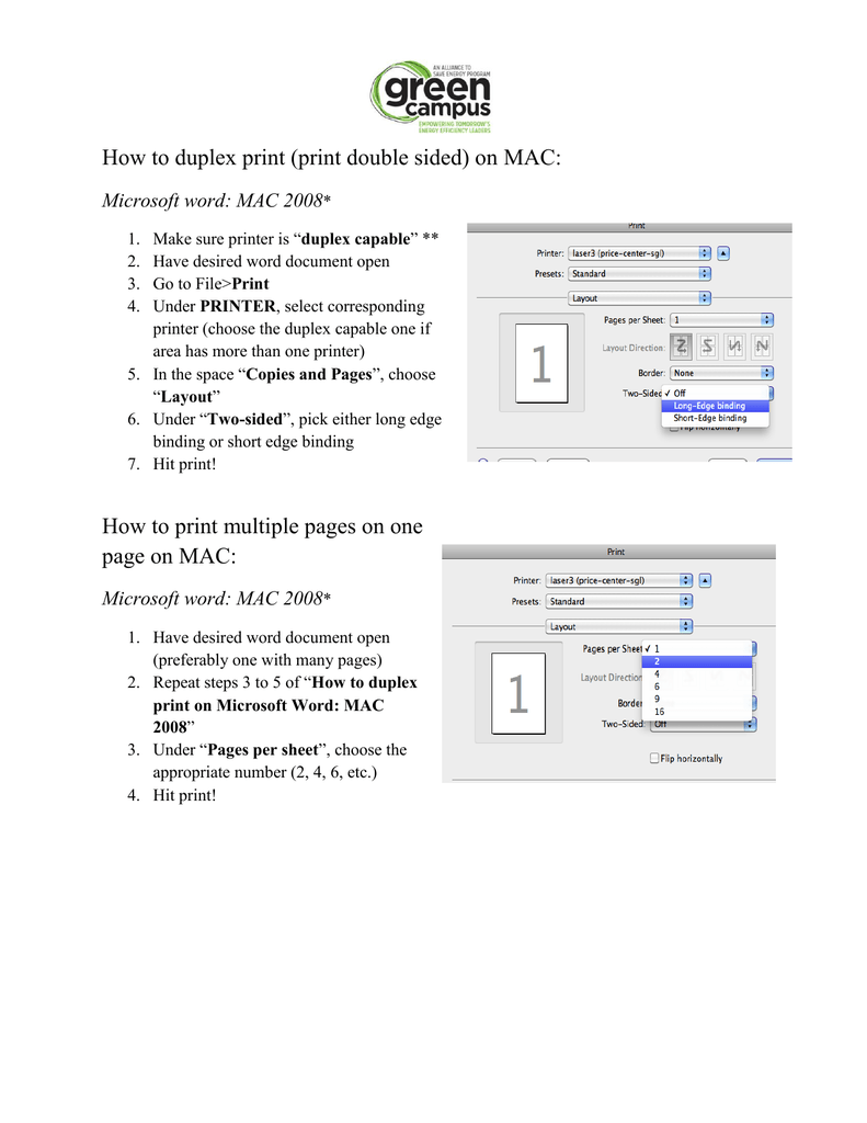 duplex printing word mac 2008