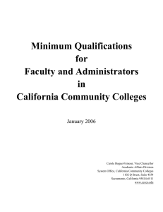 Minimum Qualifications For Faculty And Administrators In