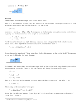 Chapter 4 Problem 45 † Solution Find the force exerted on the right