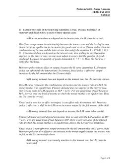 Problem Set 8 – Some Answers FE312 Fall 2010 Rahman 1