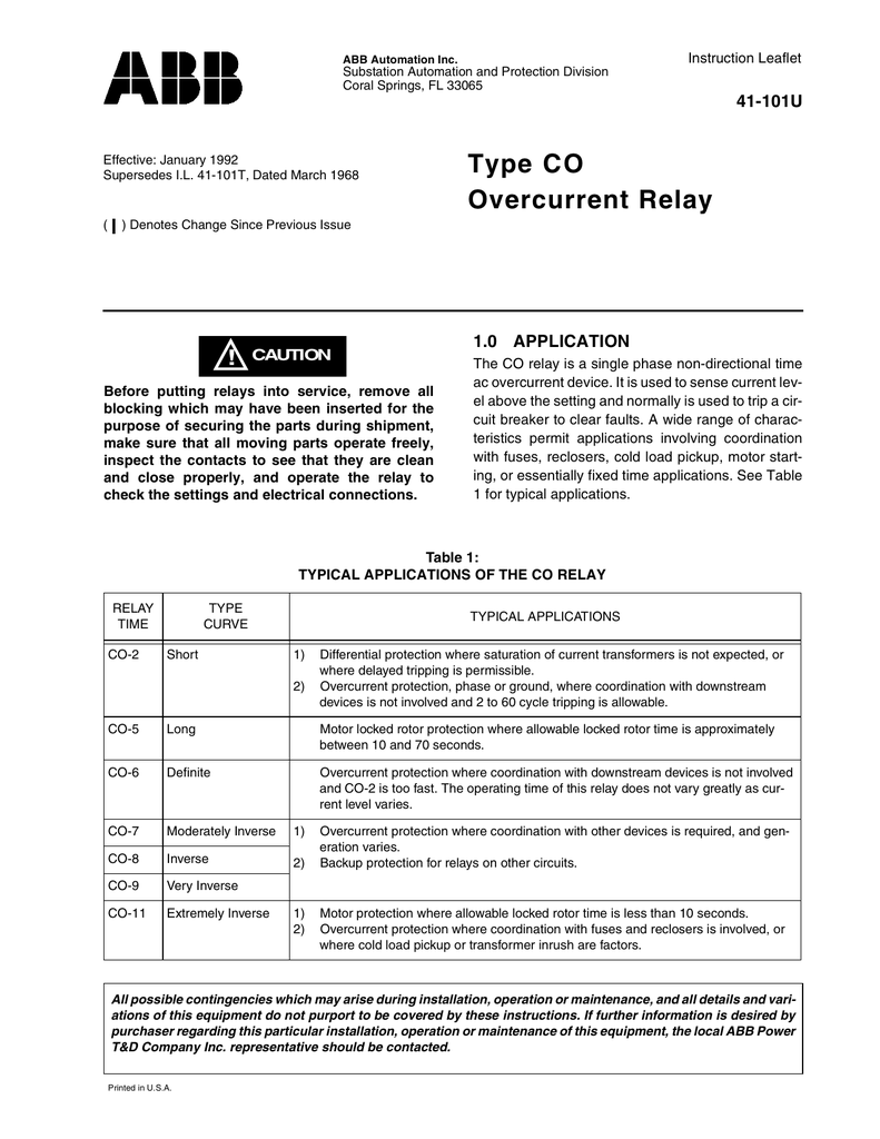 Type Co Overcurrent Relay Electrical