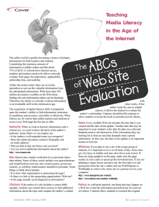 The ABC`s of Web Site Evaluation