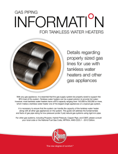 Details regarding properly sized gas lines for use with