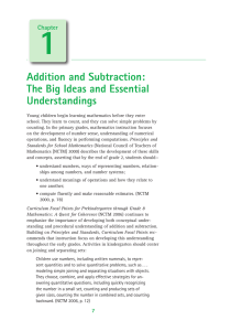 Addition and Subtraction: The Big Ideas and Essential Understandings