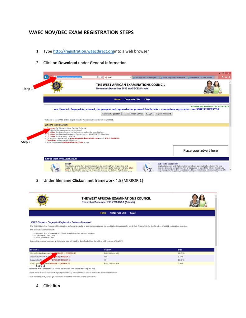 WAEC NOV/DEC EXAM REGISTRATION STEPS