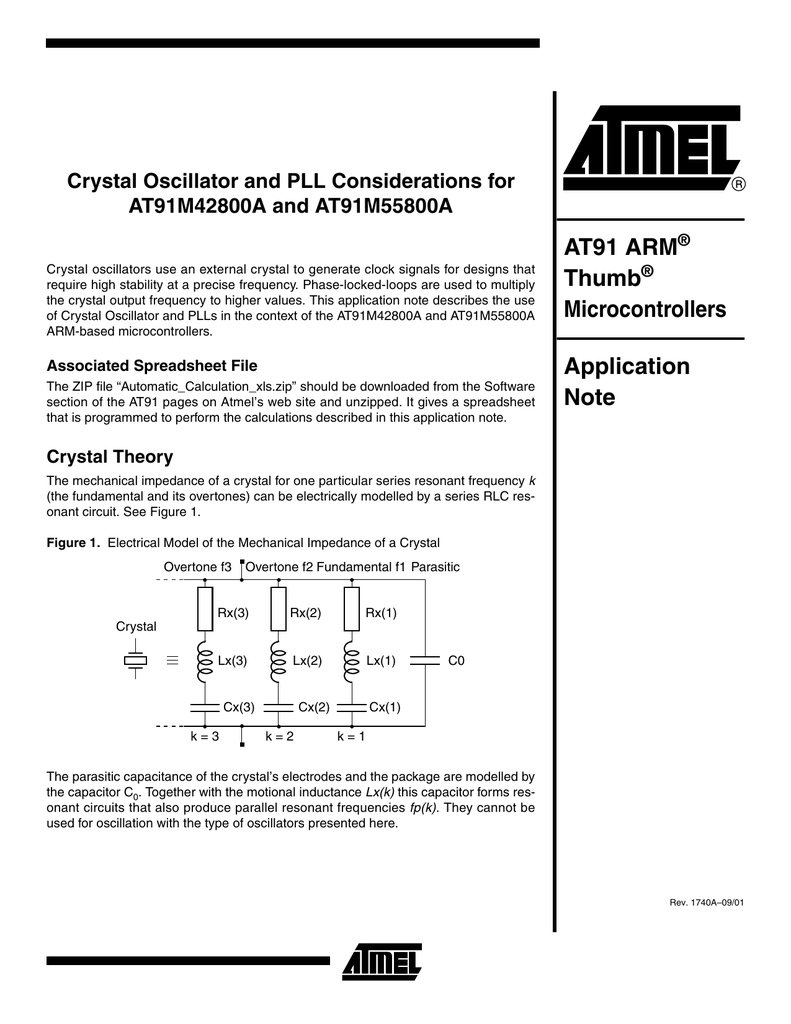 Crystal Oscillator And Pll Considerations For At91m42800a Rf Oscillators The As A Circuit Element