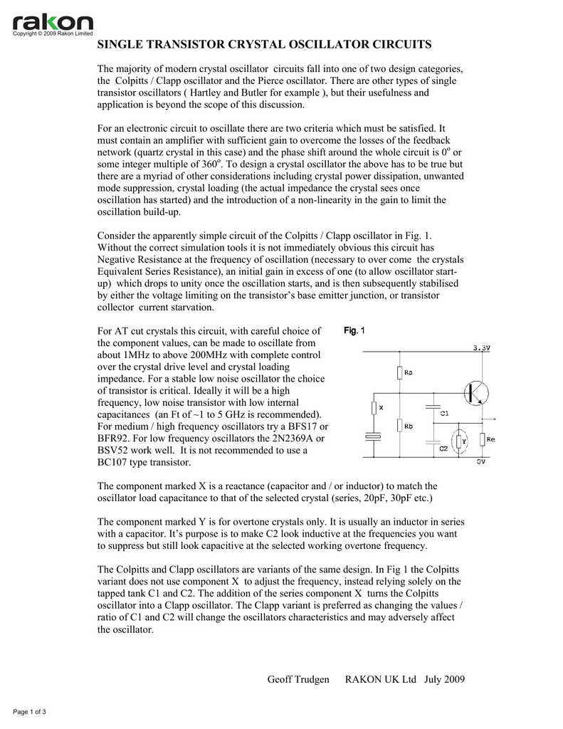 Single Transistor Crystal Oscillator Circuits