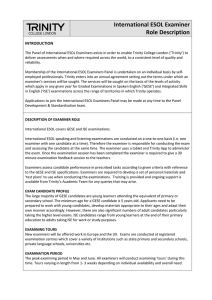 International ESOL Examiner Role Description