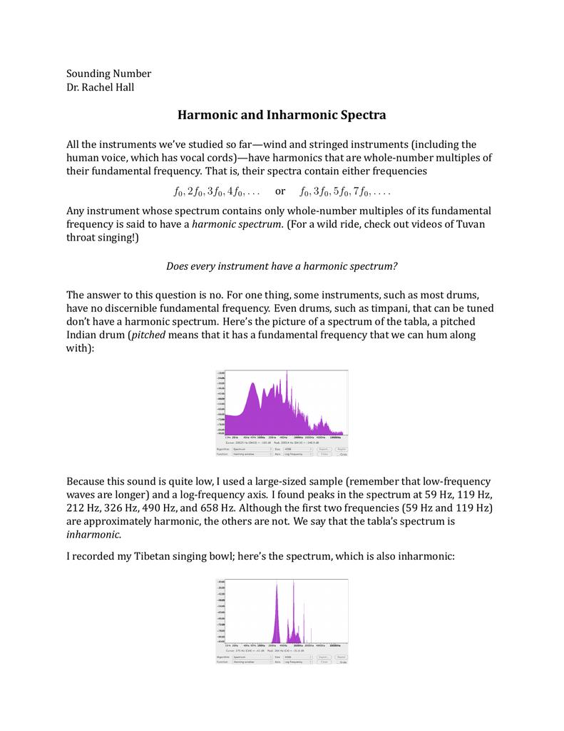 Harmonic and Inharmonic Spectra