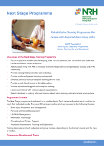 Next Stage Programme - National Rehabilitation Hospital