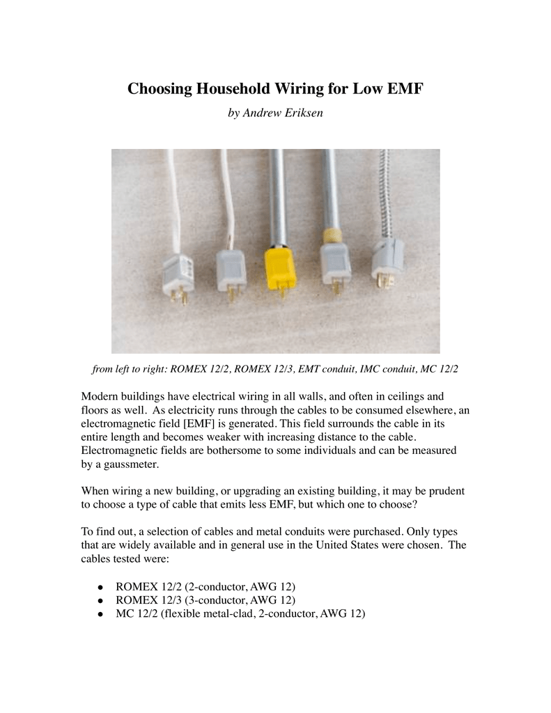 Choosing Household Wiring for Low EMF