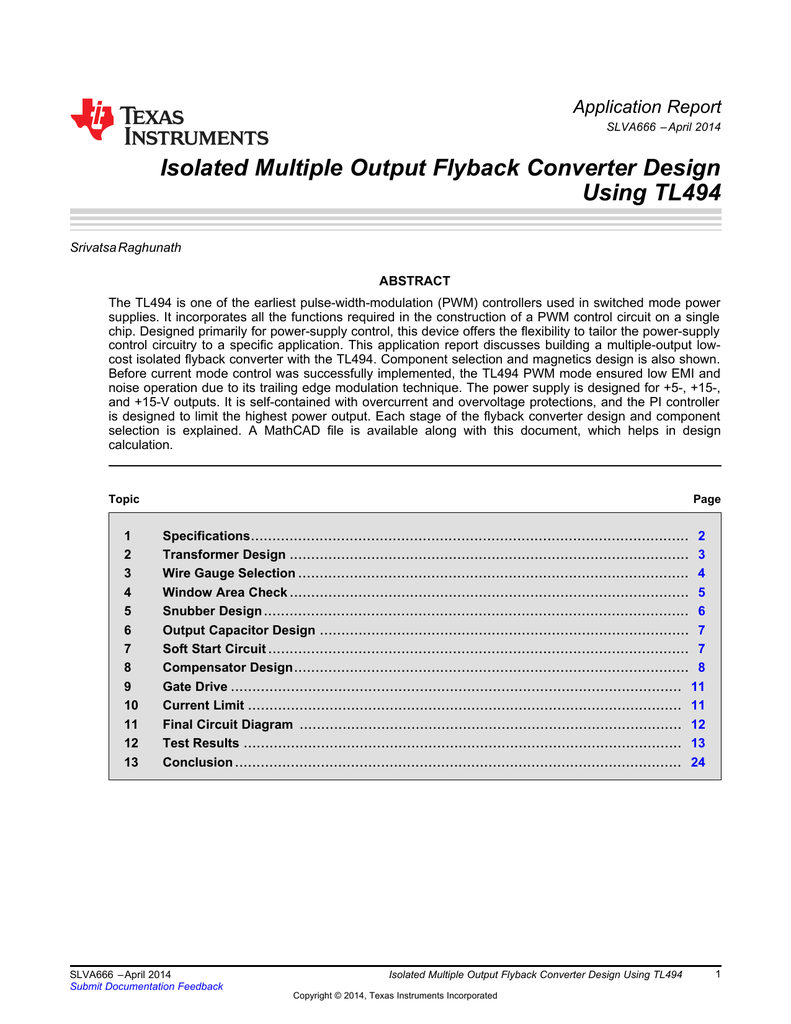 Isolated Multiple Output Flyback Converter Basic Single Circuit Diagram