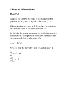 3.5 Implicit Differentiation EXAMPLE Suppose we want to the slope