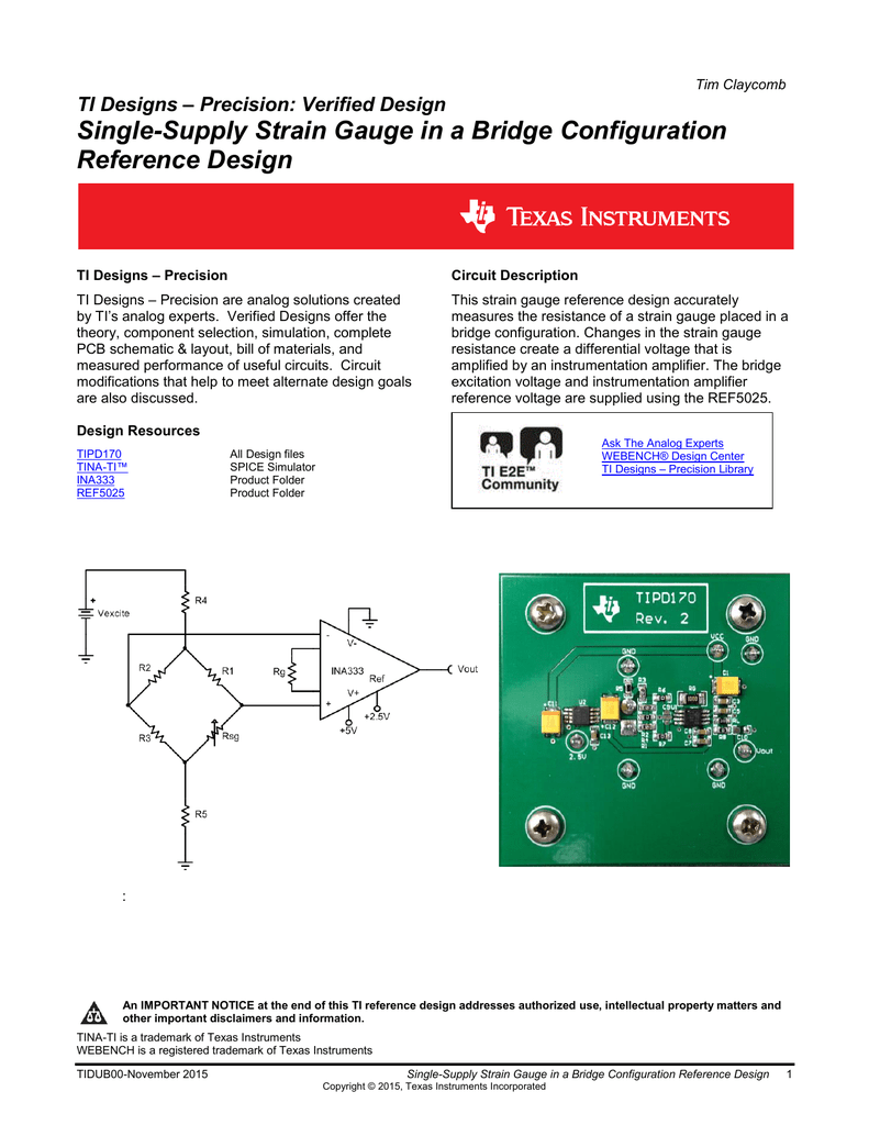 Single Supply Strain Gauge In A Bridge Configuration Reference Instrumentation Amplifier With Cmrr Calibration