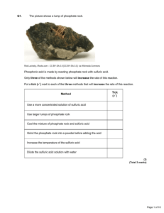 Q1. The picture shows a lump of phosphate rock. Phosphoric acid is