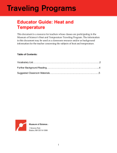 Educator Guide: Heat and Temperature