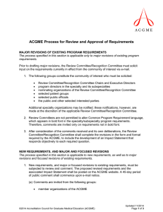 ACGME Process for Review and Approval of Requirements