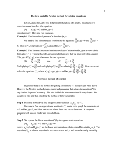 The two variable Newton method for solving equations Let a(x,y