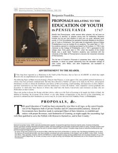 Benjamin Franklin, Proposals Relating to the Education of Youth in