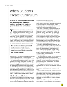 When Students Create Curriculum
