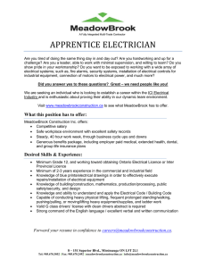 apprentice electrician - MeadowBrook Construction