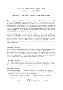 EECS E6720: Bayesian Models for Machine Learning Columbia