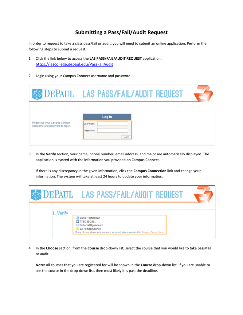 Submitting a Pass/Fail/Audit Request