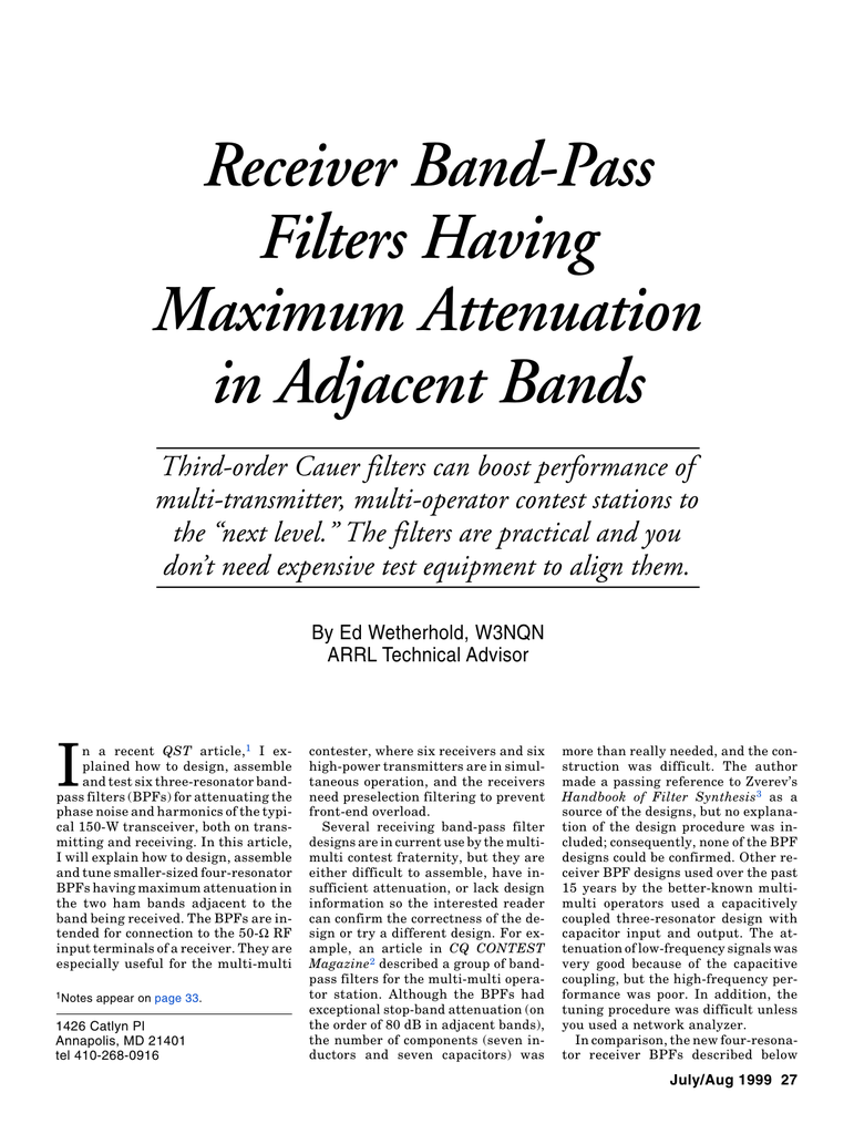 Receiver Band Pass Filters Having Maximum Attenuation