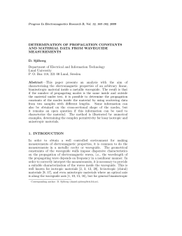 DETERMINATION OF PROPAGATION CONSTANTS AND