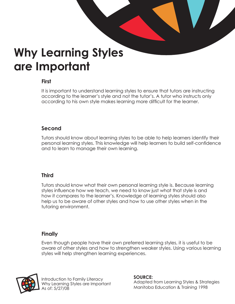 Are Learning Styles Real And Useful >> Why Learning Styles Are Important