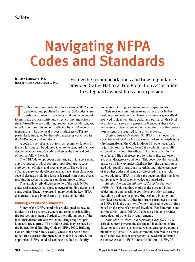 Navigating NFPA Codes and Standards